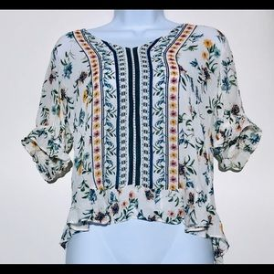 NWT Luck Brand Floral Top Blouse Size Small